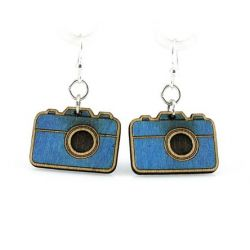 royal blue small camera wood earrings