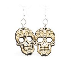 blossom sugar skull wood earrings