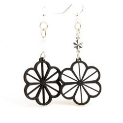 black clover wood earrings