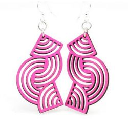 pink tangled direction wood earrings