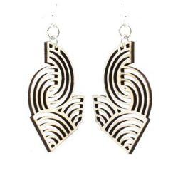 natural wood air wave wood earrings