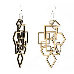 tan diamond square wood earrings