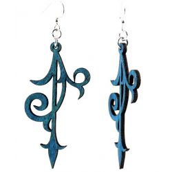 Royal blue scroll ornament wood earrings