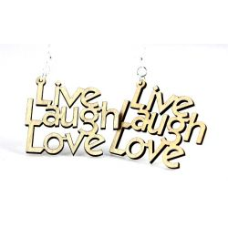 Natural Wood live laugh love earrings