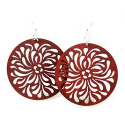 Cherry red raindrop circle earrings