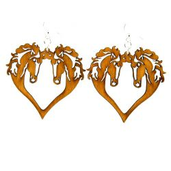 Cinnamon Horse Heart Wood Earrings