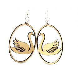 Natural wood swan in oval wood earrings