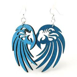 Aqua Marine Macaw Wood Earrings