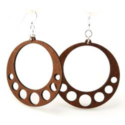 Cinnamon hanging circle wood earrings