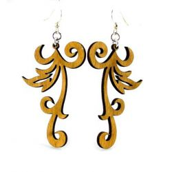 Cinnamon Swishy Scroll Wood Earrings