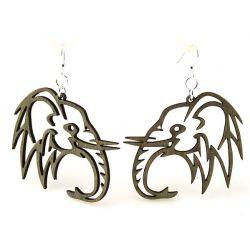 Gray elephant wood earrings