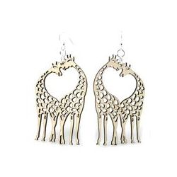 Natural wood giraffe heart wood earrings