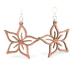 Pink Plumeria Wood Earrings