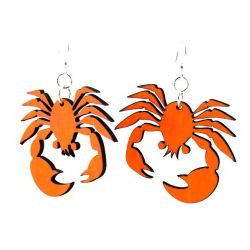Tangerine crab wood earrings