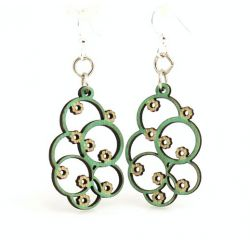 Emerald Euclid Blossom Wood Earrings