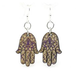Hamsa Hand wood earrings
