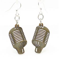Gray retro vintage microphone wood earrings