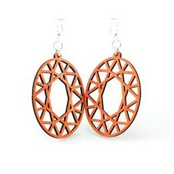 tangerine oval hex wood earrings
