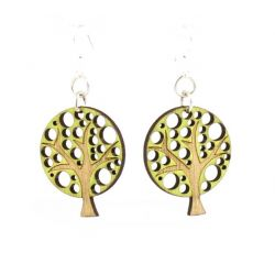 Green abstract tree blossom wood earrings