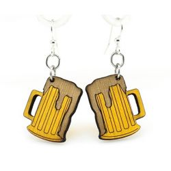 beer mug wood earrings