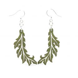 green flowing leaf wood earrings