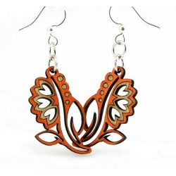 orange red bouquet blossom wood earrings
