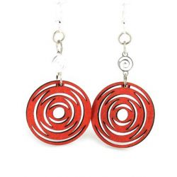red icircled dangle wood earrings