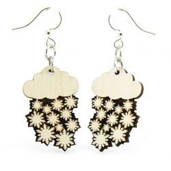 snow cloud blossom wood earrings