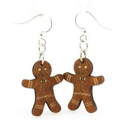 gingerbread man wood earrings