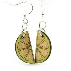 lime wedge blossom wood earrings