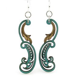 teal paisley leaf wood earrings