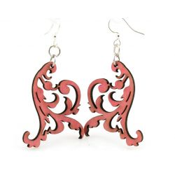 cherry red swaying vine wood earrings