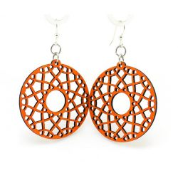 tangerine flare wood earrings