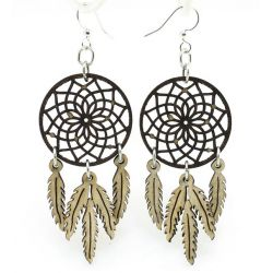 brown dreamcatcher wood earrings