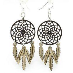 brown dreamcatcher wood earrings