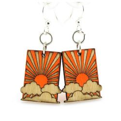 sunrise blossom wood earrings