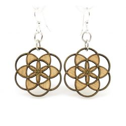 seed of life blossom wood earrings