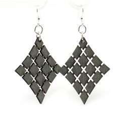 Black floating diamond wood earrings