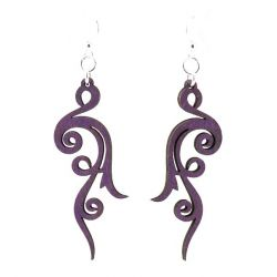 Purple scroll wooden earrings