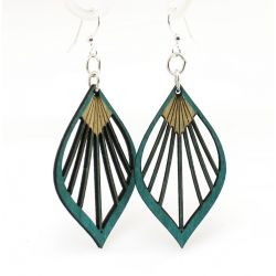 Teal fan leaf palm wood earrings