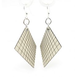 Gray graph wood earrings