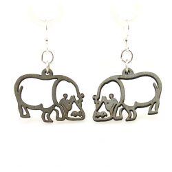 Gray hippo wood earrings