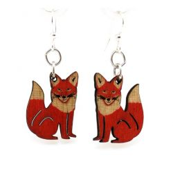 Fox wood earrings