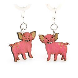 piglet wood earrings