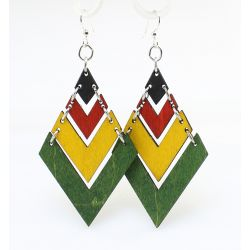 rasta fountain pyramid wood earrings
