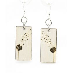 dandy lion blossom wood earrings