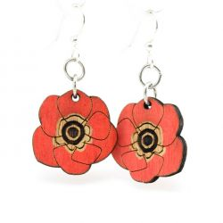 crimson Poppy Flower wood earrings