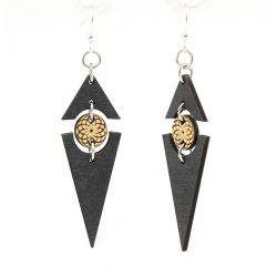 Black satin twilight triangle earrings