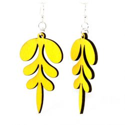 yellow point wood earrings