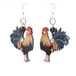 rooster wood earrings